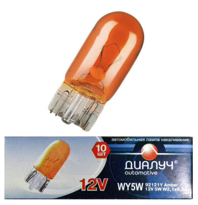 Лампа авто ДиаЛУЧ W5W 12V 5W W2.1x9.5d Панель/Габариты (#92121Y) Orange