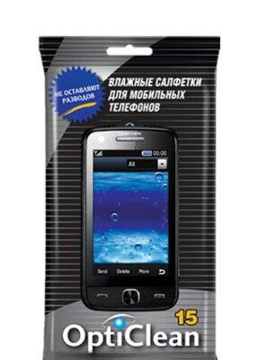Салфетки влажные TOP GEAR 19,5*10см д/мобильных телефонов с антистатиком 15шт