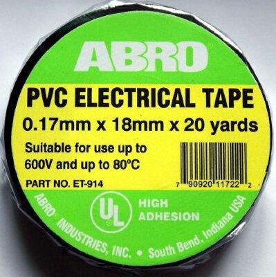 Лента изоляционная ABRO ET-914 чёрная/термостойкая