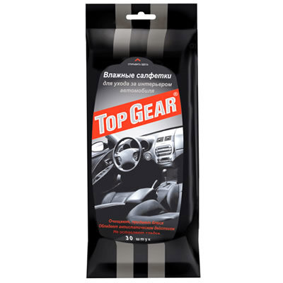 Салфетки влажные TOP GEAR 19,5*10см для ухода за интерьером 30шт