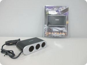 Переходник прикур-ля KS-0306 на 3 гнезда+1 USB 1000mA раз-м, тумб-ы