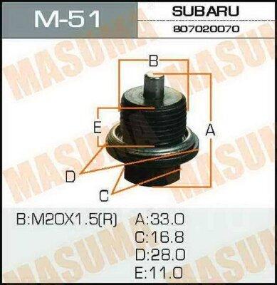 Болт Masuma маслосливочный M_51 Subaru 20*1,5 мм