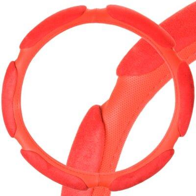 Оплётка руля SKYWAY Sponge classik М 6 подушечек, красная замша