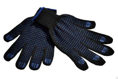 Перчатки 10 класс (4)   ХБ с ПВХ напылением Черные