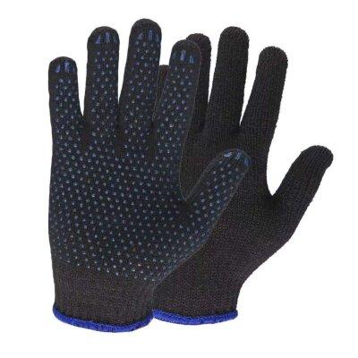 Перчатки 10 класс (6н) с ПВХ черные. Точка