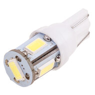 Лампа авто SKYWAY диод Т10 (W5W) 12V 5 SMD б/ц белая (габариты, номер)