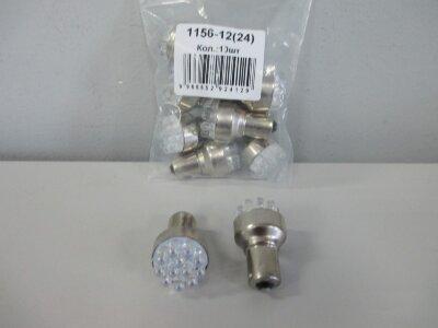 Лампа Луч светод 24V (21W) белая BA15s (1 конт),12 диодов (поворот, стоп-сигнал)