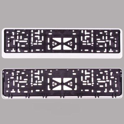Рамка для номера пласт. с защелкой белая без надписи SKYWAY полированная