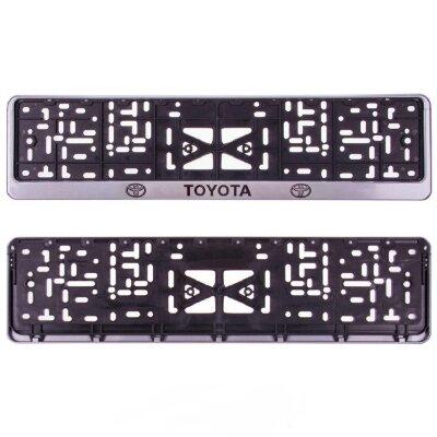 Рамка для номера пласт. с защелкой серая TOYOTA (накатка черная)