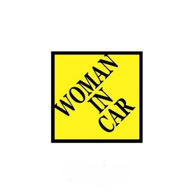 "Наклейка ""Woman in car""  (160x160) жёлтый фон"