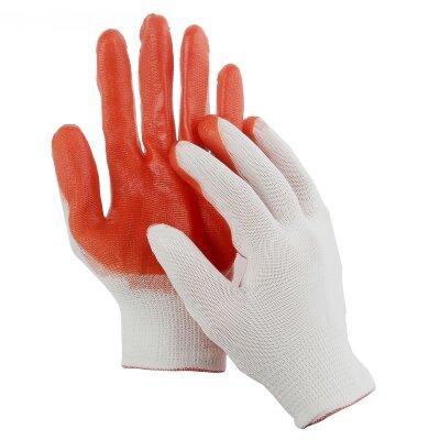Перчатки нейлоновые с нитриловым обливом Оранжевый