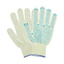 Перчатки с голубой ПВХ пунктирной точкой средние х/б