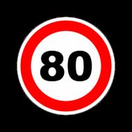 """Наклейка """"Ограничитель скорости"""" """"80 км/ч"""" (146мм) круг. A0066"""