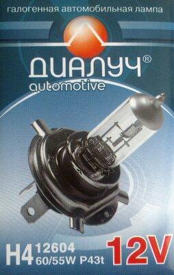 Лампа авто ДиаЛУЧ H4 12V 60/55W P43t Головного света (#12604)
