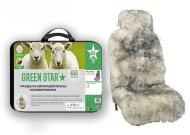 Накидка на сидение Green Star - Натуральная овчина длинный мех  (Белая с темными перьями)