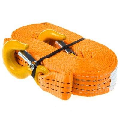 """Трос """"Skyway"""" ленточный 5м*4Т усиленный (35мм) оранжевый 2 крюка"""